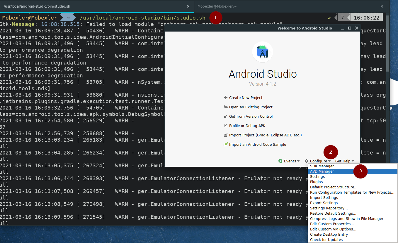 Launch Android Studio and AVD Manager